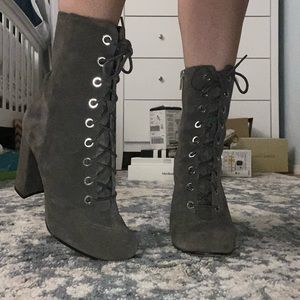 vince camuto grey velvet heels, lace up